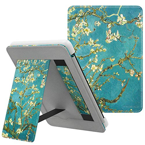 (MoKo Case Fits All-New Kindle 10th Generation 2019 Release, Slim PU Leather Smart Cover Shockproof Stand Shell with Hand Strap - Almond Blossom)