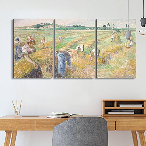 """wall26 3 Panel World Famous Painting Reproduction on Canvas Wall Art - The Harvest by Camille Pissarro - Modern Home Art Ready to Hang - 24""""x36"""" x 3 Panels"""