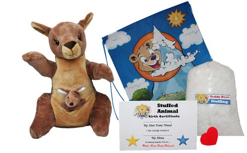 Make Your Own Stuffed Animal ''Jill & Joey Kangaroo's'' with Finger Puppet- No Sew - Kit With Cute Backpack! by Stuffems Toy Shop