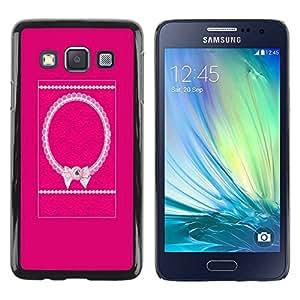 rígido protector delgado Shell Prima Delgada Casa Carcasa Funda Case Bandera Cover Armor para Samsung Galaxy A3 SM-A300 /Bowtie Pink White Pattern Purple/ STRONG