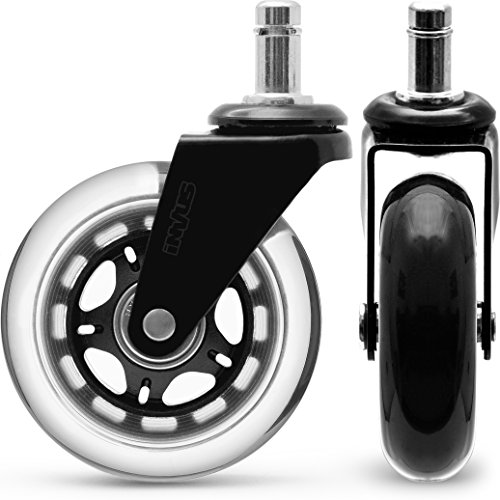 Office Chair Wheels for Rolling Desk Chairs (Set of 5) - Heavy Duty Replacement Casters, Ideal for Hardwood Floors, Cool Non-Marking Rollerblade Style Wheels. Smooth Rolling and Universal Fit