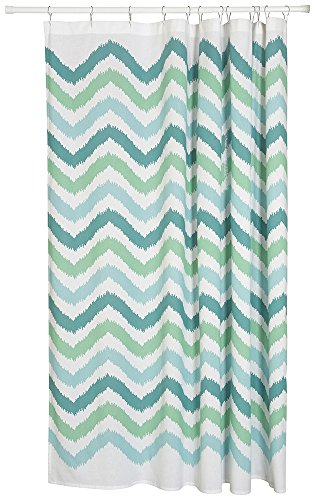 Now Designs Cotton Shower Curtain, Chevron Print, Green -