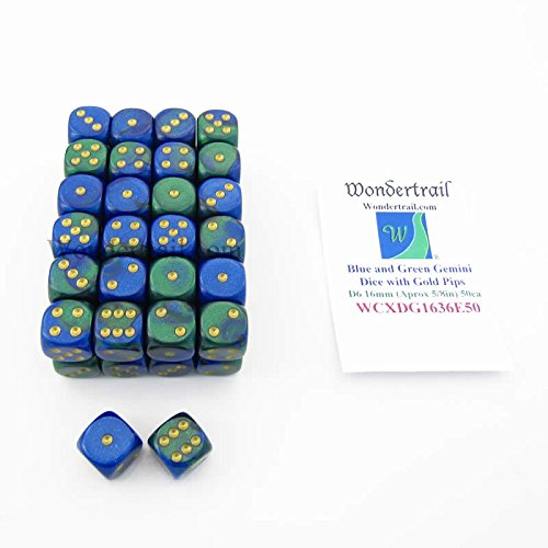 グランドセール 青と緑Gemini Dice With B07D9JJ7HC Gold Colored Pips d6 Dice 16 mm Colored ( 5/ 8in )バルクパック50のWondertrail B07D9JJ7HC, 山科区:a2c55cbd --- cliente.opweb0005.servidorwebfacil.com