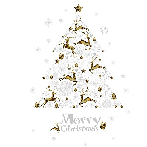 Translucent Oil Base Stain (Whitelotous Christmas Stickers Reindeers Snowflake Wall Decals Window Sticker Christmas Party Home Decor)