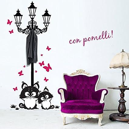 Appendiabiti Adesivi.00739 Adesivi Murali Lampione Gatti E Farfalle Appendiabiti Stickers Adesivi 82x170 Cm Fucsia Nero Decorazione Parete Adesivi Per Muro