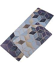 U'Artlines Anti Fatigue Kitchen Floor Mat Comfort Heavy Duty Standing Mats, Waterproof PVC Non Slip Washable for Indoor Outdoor (Blue, 17*30+17*47 Inch)