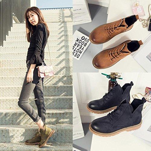 Chelsea Rond Femme Chic Élégant Marron Martin Casual Classique Boots Plat Sanfashion Bottes Chukka Bout WZBzxYq