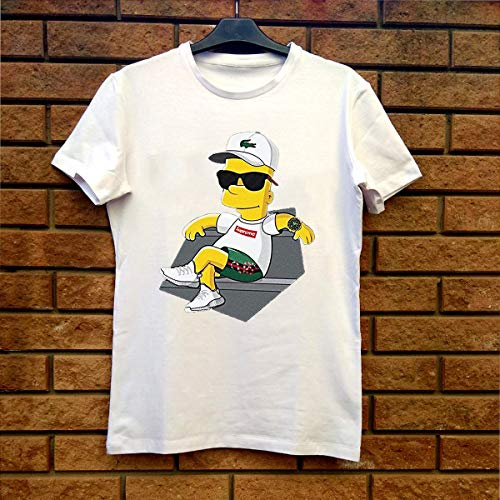 91a2e6312 Bart Simpson With Lacoste Hat Yeezy Shoes Gucci Snake Short Classic T-Shirt  White