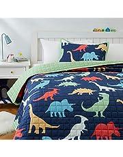 Amazon Basics Kids Dinosaur Squad 100% Cotton Reversible Quilt Bedspread - Full/Queen, Dinosaur Squad/ Leafy Green