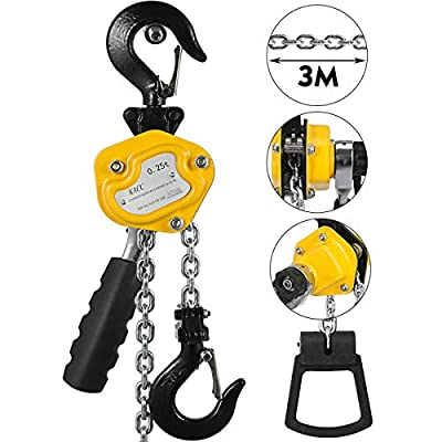 Mandycng Heavy Duty Versatile Industrial Mini Lever Hoist Chain Warehouse Material Handling Transport Auto Garage 550lbs 10Ft Block w/Brake Construction Engineering Tools CNC Mold Lifter Machine Main