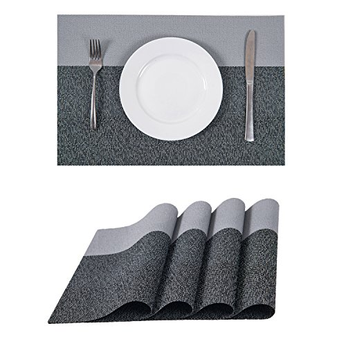 Set of 4 Placemats,Heat-resistant Placemats Stain Resistant Washable PVC Table (White Square Coffee Pot)