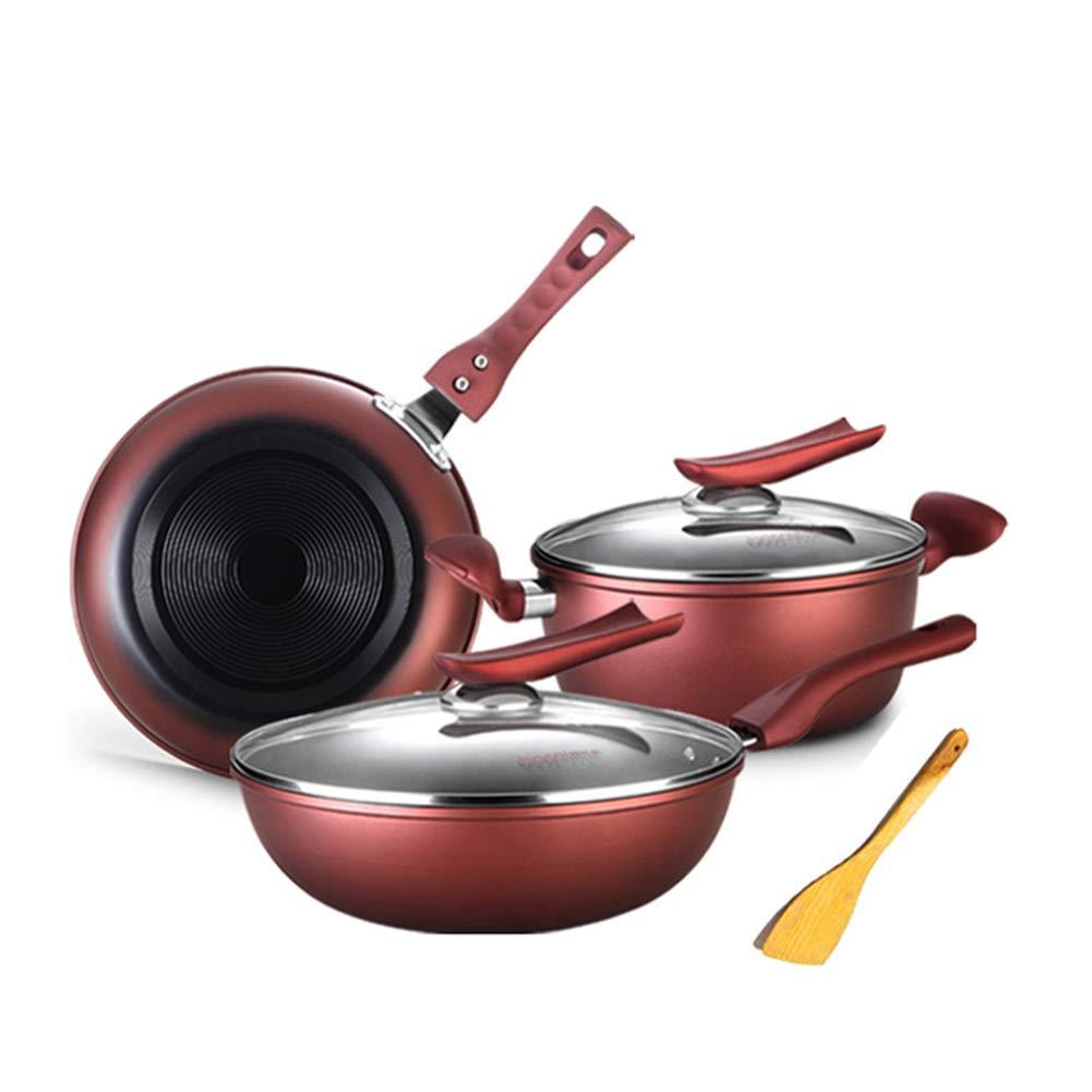 中華鍋手作り鋳鉄3ピースノンスティック鍋スープ鍋フライパンユニバーサル無煙鍋   B07RQJ54JS
