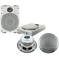 Lanzar Marine Amp Woofer and Speaker Package - AQTB8 8 1000 Watts Low-Profile Super Slim Active Amplified Marine/Waterproof Subwoofer System - AQ5DCS 300 Watts 5.25 Dual Cone Marine Speakers (Silver Color) (Pair)