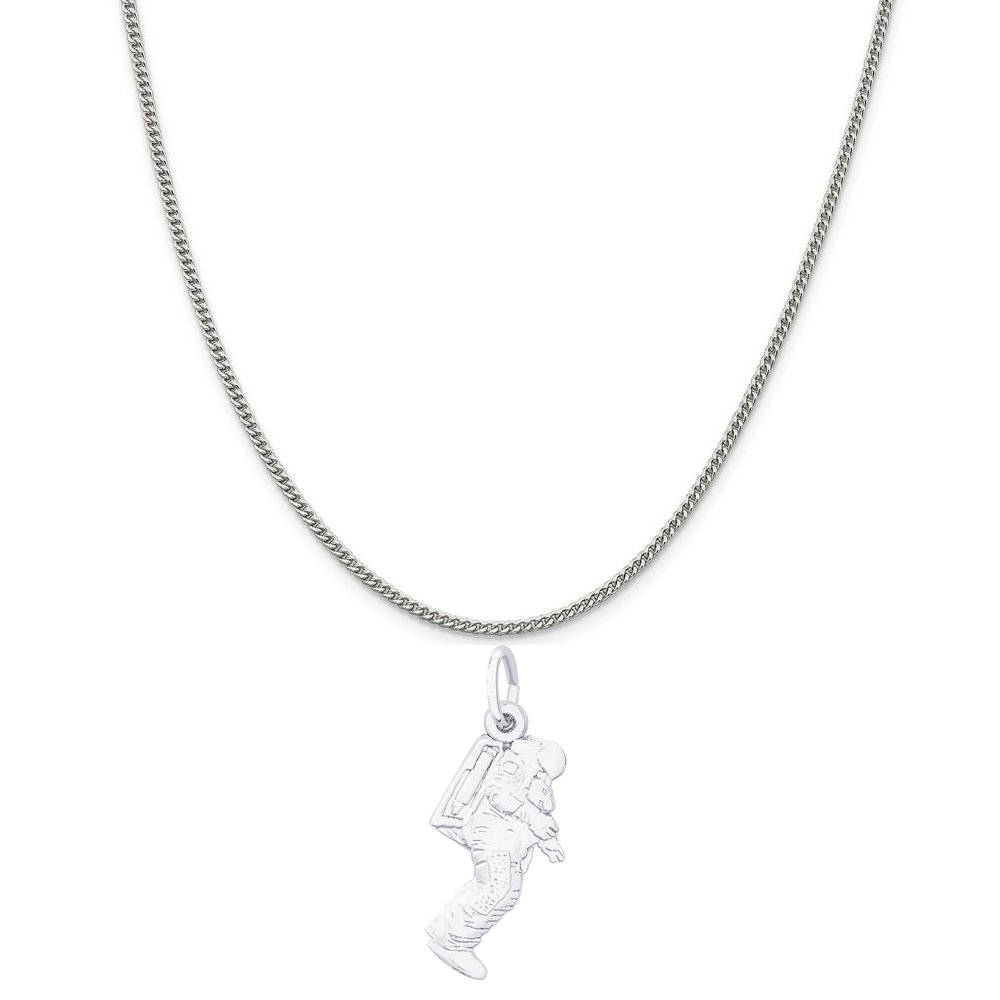 Rembrandt Charms Sterling Silver Astronaut Charm on a 16 18 or 20 inch Rope Box or Curb Chain Necklace
