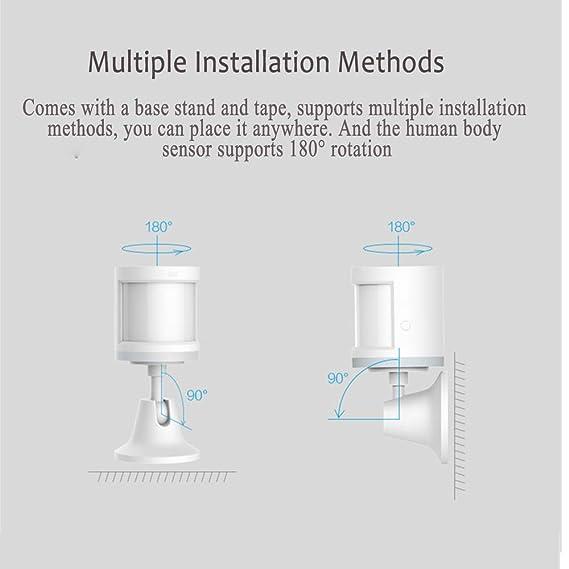 Aqara Sensor de Movimiento, Aqara Mini Detector de Movimiento Sensor de Detección Inteligente de Seguridad para Sistema de Alarma de Seguridad/Domótica ...