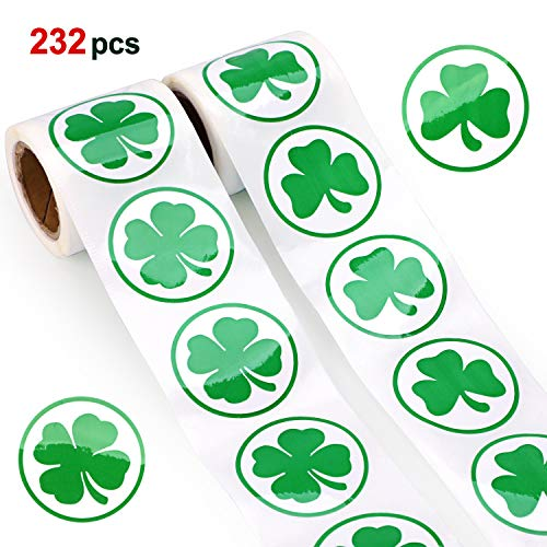 St.patrick Day Party Shamrock Stickers(232pcs),Konsait St.patrick Roll Sticker Green Irish Clover Stickers for St.patrick Day Party Accessories St.patricks Party Favors Supplies Decor Decoration ()