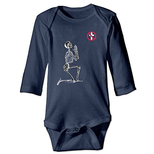 Naughty Nun Outfit (Kids Baby Bad Religion Logo Praying Skull Long-sleeve Romper Jumpsuit Navy)