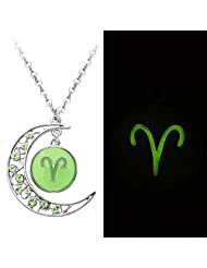 SENFAI 2 Colors Crystal Crescent Moon Aries Zodiac Sign Constellation Pendant Necklace Horoscope Astrology Disc Necklace Glowing in the Dark