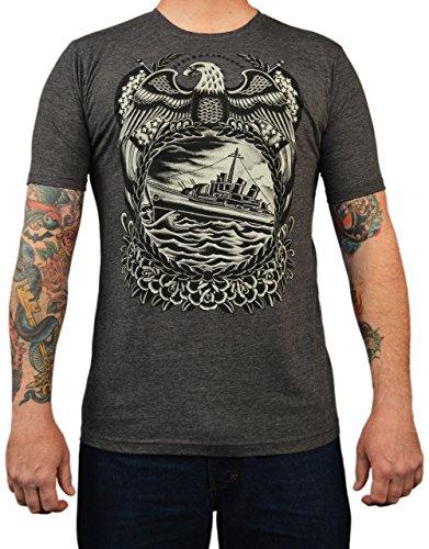 Men's Battleship by Britton McFetridge T Shirt Ship Tattoo Eagle Military Tee