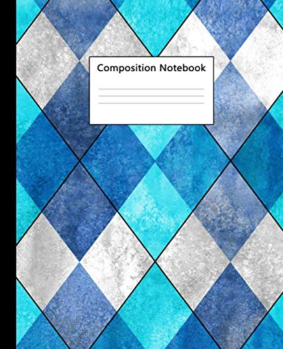 Composition Notebook: Pretty College Ruled Notebook for School, University and College. Nifty Lined Journal for Students, Kids and Teens for Writing & Notes - Argyle Turquoise Teal Print