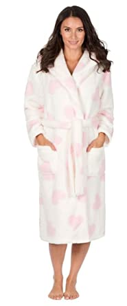 Ladies Coral Fleece Super Soft Dressing Gowns 34B739 Heart Print Cream S 9ffb818d5