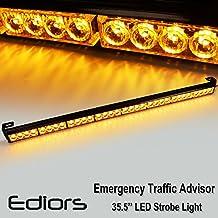 "Ediors 35.5"" Amber/Yellow 13 Modes 8 Light Heads 32 LED Traffic Advisor Emergency Warning Security Hazard Vehicle Car Truck Pickup Strobe Light Bar Kits With On/Off Switch"