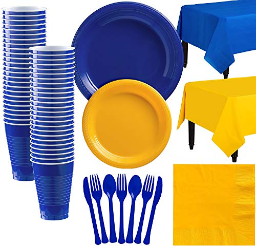 Party City Royal Blue and Sunshine Yellow Plastic Tableware Kit for 50 Guests, 487 Pieces, Includes Tableware and Cups ()