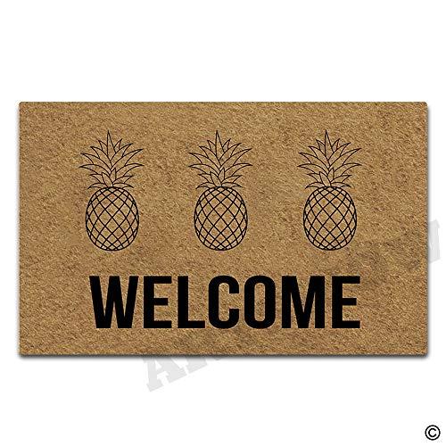 - Artswow Personalized Doormat Welcome Pineapple Doormat with Non Slip Rubber Backing Decorative Indoor Outdoor Door Mat Floor Mat 23.6 by 15.7