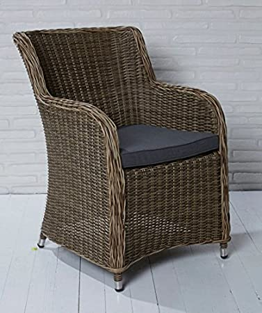 4x Hochwertiger Polyrattan Gartenstuhl Aluminium Gestell Sessel Rattan  Stuhl Gartenstühle Gartenmöbel Cappuccino