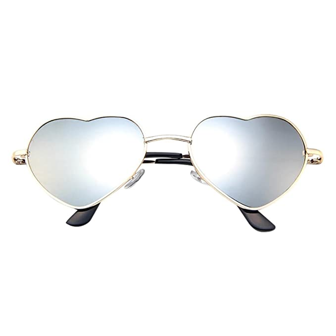 f4b204d9fcf83 Alixyz Womens Cute Fashion Wire Metal Inset Lens Love Lolita Heart Shaped  Sunglasses (M