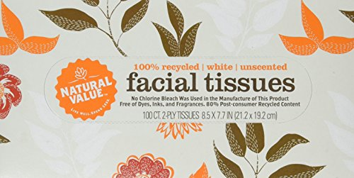 Natural Value 100% Recycled Facial Tissue, 100 2-Ply Sheets Per Box (Pack of ()
