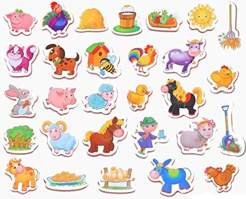 Childrens Developmental Toys (Fridge magnets for kids Farm Animals 31pcs - Developmental foam Animal toys - Educational Farm toys)