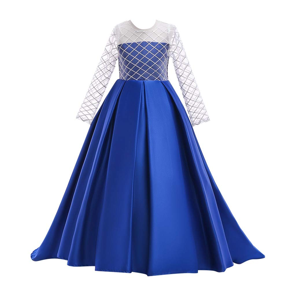 Kids Girls Solid Color Vintage Gown Teens Lace Long Sleeve Floor Bridesmaid Party Dance Dresses for Wedding (Age:10-11 Years, Blue) by FDSD Baby Clothes