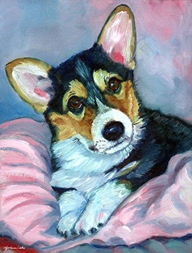 Caroline's Treasures 7301CHF Corgi Puppy with Pink Blanket Flag Canvas, Large, Multicolor