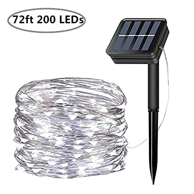 Solar String Lights, 200 LED Solar Fairy Lights 72 Feet 8 Modes Silver Wire Lights Waterproof Outdoor String Lights for Garden Patio Gate Yard Party