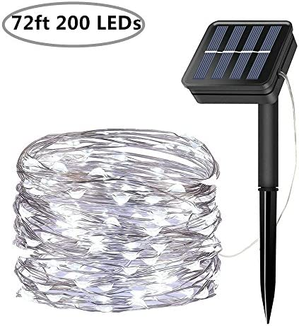 LiyuanQ Solar String Lights, 200 LED Solar Fairy Lights 72 Feet 8 Modes Silver Wire Lights Waterproof Outdoor String Lights for Garden Patio Gate Yard Party Wedding Indoor Bedroom – Cool White