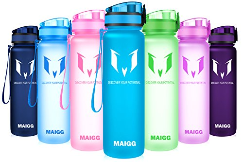 MAIGG Best Sports Water Bottle - 17oz & 32oz - Eco Friendly & BPA-Free Plastic - Fast Water Flow, Flip Top, Opens With 1-Click - Reusable with Leak-proof Lid (Aqua Blue, 500ml-17oz)