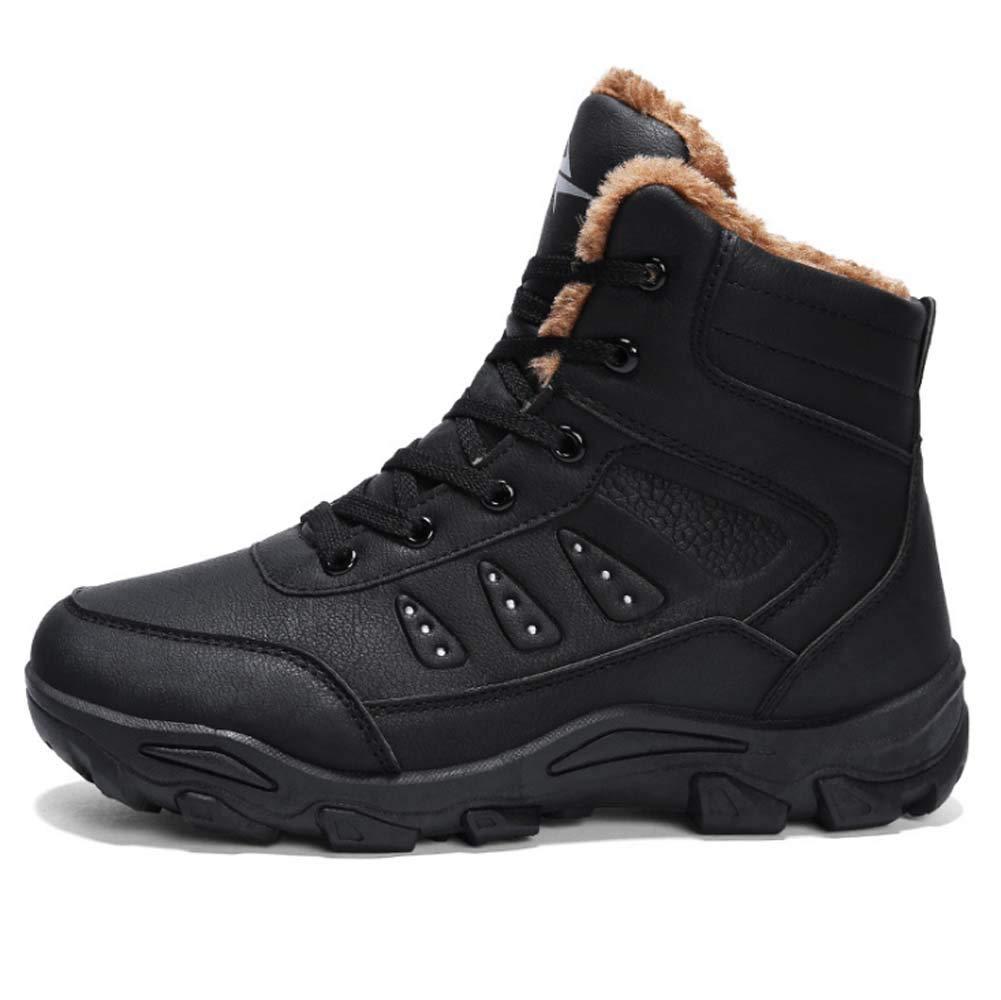 HYLFF Winter Snow Stiefel Wasserdichte Männer zu Fuß Wandern Pelz gefüttert Sport Outdoor-Schuhe schwarz braun
