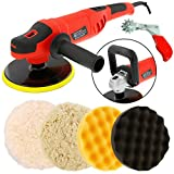 TCP Global Powerful 7'' Variable Speed Polisher with Digital RPM Display with 3-Waffle Foam Polishing Pads