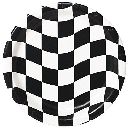 Creative Converting Mens Black and White Check Dessert Plates Black Medium