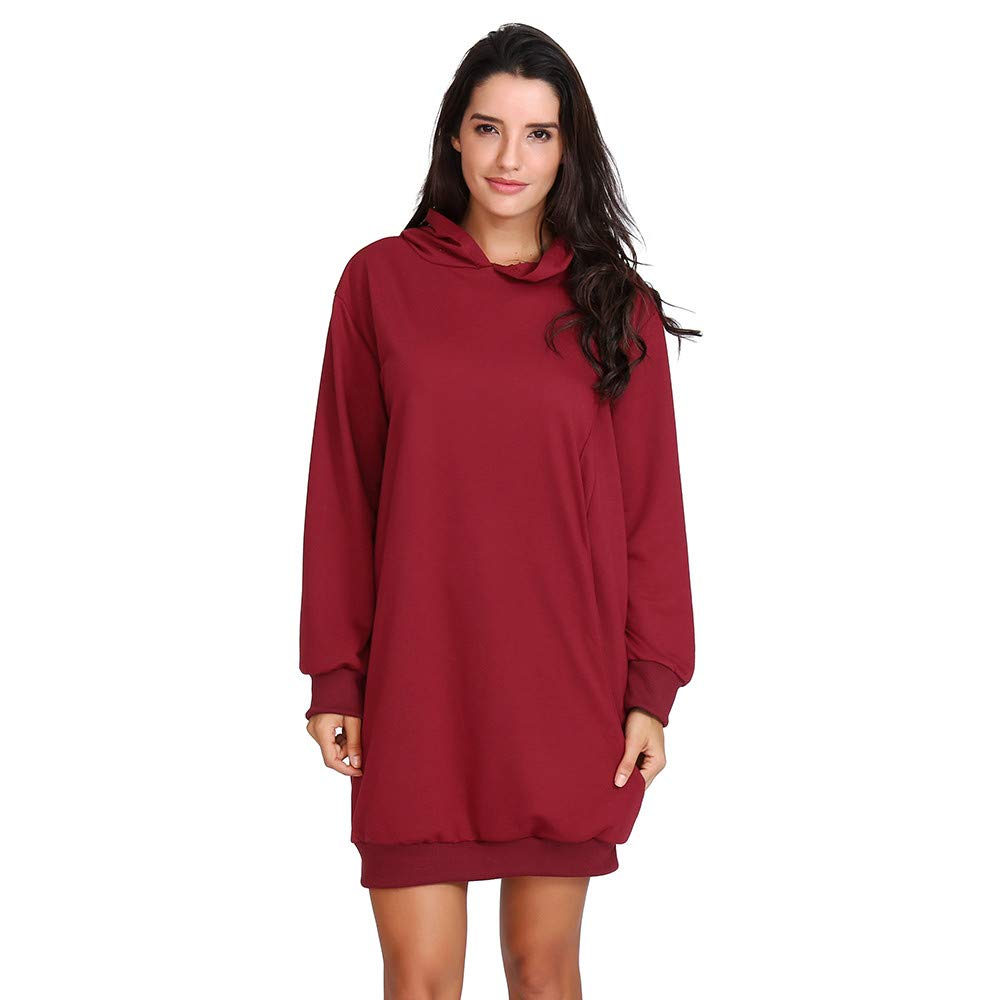 UONQD Women Sweatshirt Solid Color Fit Straight Autumn Winter Dresses Hooded (Large,Red)