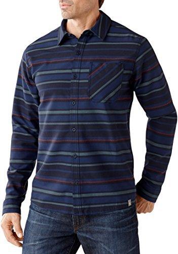 Smartwool Men's Akalii Striped Flannel, Deep Navy, Medium