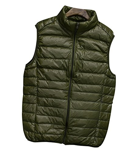 Down ISSHE Green Puffer Puffa Jackets Sleeveless Stand Bodywarmer Vest Gilets Padded Filled Mens Packable Lightweight Gilet Army Collar Bodywarmers Winter Quilted Zipper Gilet Gilet Down Jacket Down Pockets 5rIw1rqnxp