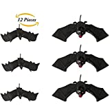 Halloween Décor 12 Pieces PVC Flying Bats Birds Spookly Hanging Bats Sticker 3D Realistic Wall sticker for Halloween Party Decor Home Window Decoration