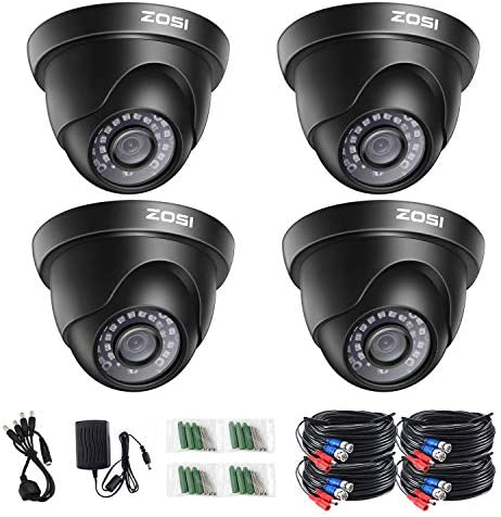 ZOSI 4 Pack 2.0 Megapixel HD 1080P 1920TVL HD-TVI Indoor Outdoor Dome Security Surveillance CCTV Camera Kit for 720P 1080N 1080P 5MP 4K HD-TVI, AHD, CVI Analog DVR