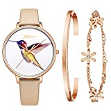 Kaifanxi Women Ultra-Thin Simple Quartz Watch Analog Dial Stainless Steel Case Leather Strap and Stainless Steel Band