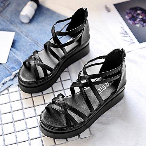 RUGAI-UE Sandalias planas Verano Mujer zapatos de tacón Black