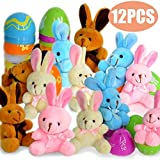 12 PCs Filled Easter Eggs with Plush Bunny...