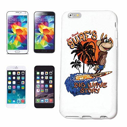 """cas de téléphone iPhone 6S """"BIG WAVE STORY FUNNY MONKEY SURFING SURF SURF ENSEIGNANT ISLAND PALMS WAVE DE SURF"""" Hard Case Cover Téléphone Covers Smart Cover pour Apple iPhone en blanc"""