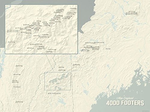 New England 4000 Footers Map Poster Beige & Slate